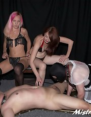 Three Dommes on two males